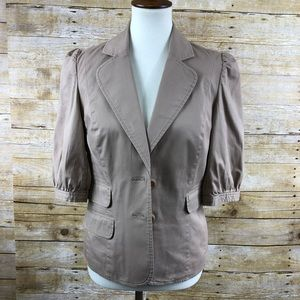 INC Camel Color 3/4 Sleeve Button Down Jacket Sz M